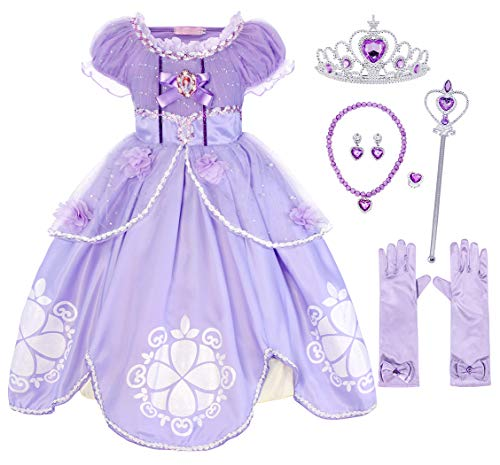 AmzBarley Toddler Girls Princess Sofia Costume Halloween Dress up with Accessories Size 2T]()