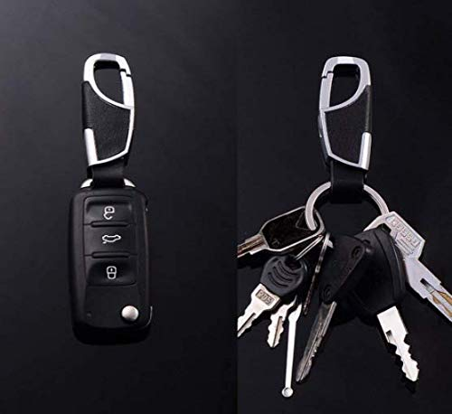 2PCS Stainless Steel Key Chain with Leather Heavy Duty Home Office Car Keychain with Key Ring Key Holder for Men and Women-Brown & Black Photo #6