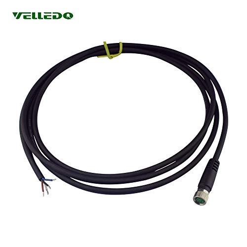 VELLEDQ Industrial Field-wireable M8 Sensor Connector 4-Pin Female Adaptor Plug Fittings with 2M/79 inch PUR Actuator Cable ()