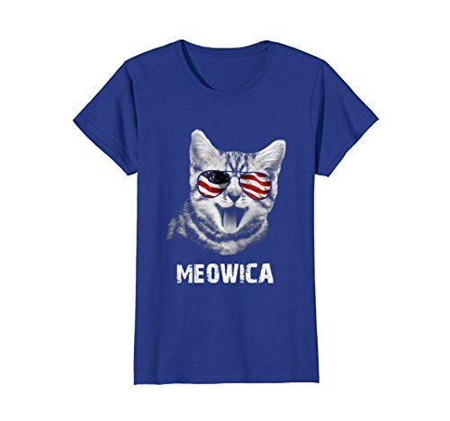 Womens Meowica USA American Flag Cat T-Shirt Funny 4th Of July Gift Large Royal - Cat American Flag
