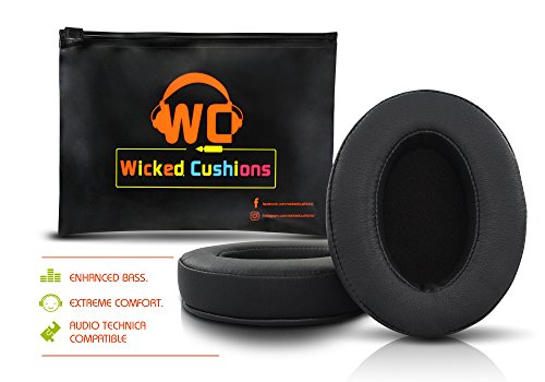 Wicked Cushions ath m50x Replacement Ear Pads - Compatbile with ATH M50 / M50x / M40 / M40X / Sony MDR / Shure SRH 440 / Fostex T50RP / monoprice 8323 / takstar hi 2050 And More Oval Shaped Headphones (M50 Pads)