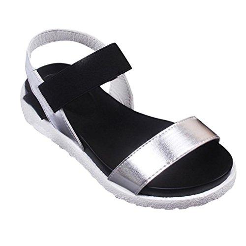 Calzado de mujer,Amlaiworld Zapatos bajos de las sandalias del verano de las mujeres Plata