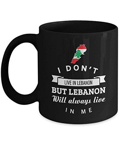Lebanon Always Live In Me Coffee Mug - Lebanon Gifts for Men Women Grandpa Grandma Dad Mom or Friends - Birthday Gag Gift Tea Cup Black Ceramic 11 Ounce
