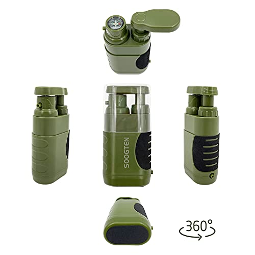 SOOGTEN Wild Emergency Portable Water Filter, Hand Pump Water Filter 0.01 Micron, 4 Filter Stages, Outdoor Gear - Camping, Hiking, Backpacking