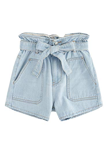 Milumia Women's Casual Self Belted High Waist Rolled Pockets Denim Jean Shorts Blue - Belted Jeans Wide