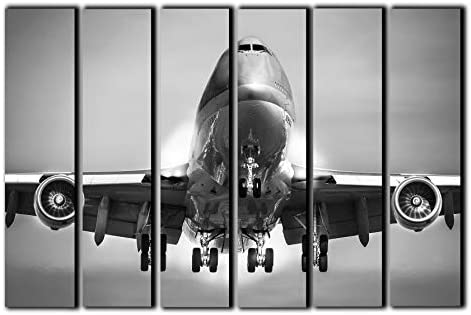 Big 6 Piece Jumbo Jet Boeing-747 Wall Art Decor Picture Painting Poster Print on Canvas Panels Pieces - the best canvas wall art for the money