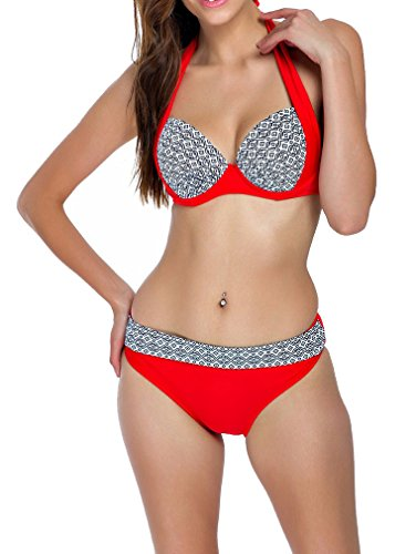 Sexy Plaid Push Up Bikini Halter Summer Two Piece Bathing Suit-KJ5346-RD5