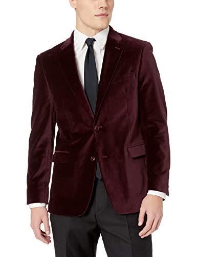 Tommy Hilfiger Men's Modern Fit Velvet Blazer, Burgundy, 38 -