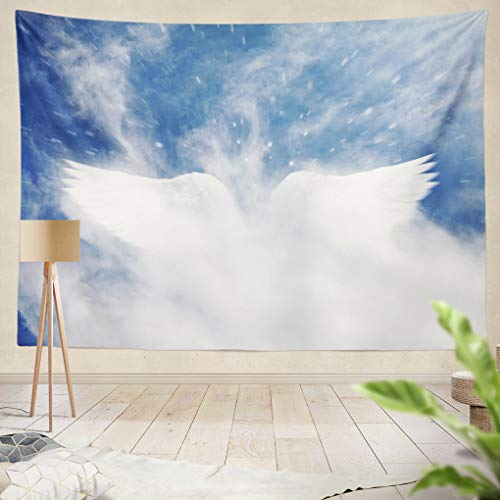 Summor Tapestry Angel Heaven Aberr Abstract Christmas Cloud Dreamy Enchanting Fly Hallucin Imagin Light Wings Hanging Tapestries 60 x 80 inch Wall Hanging Decor for Bedroom Livingroom Dorm -