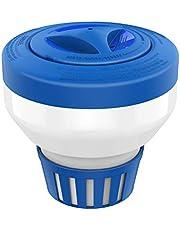 "Housolution Floating Chlorine Dispenser, Fits 1"" Chlorine Tablets, Adjustable Release Tablet Floater for Indoor & Outdoor Swimming Pool SPA, Blue & White"