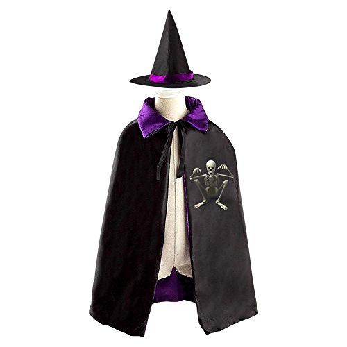Big Worm Costume (Skeleton Child Halloween Cloak Witch Wizard Hat Costumes Witch Cap Suit Reversible Kids Child Boys Girls Cosplay Christmas)