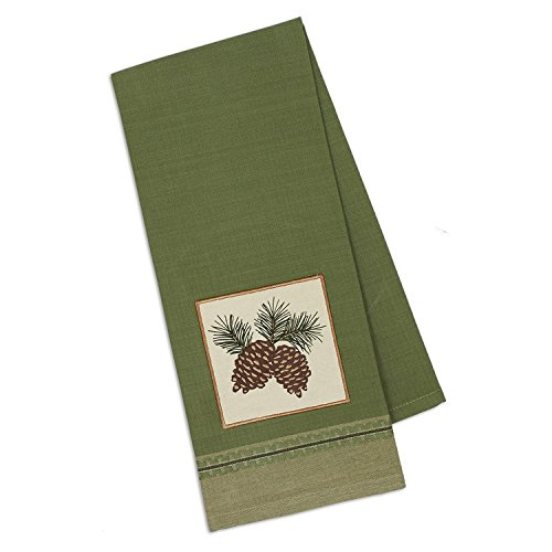 (Design Imports Mountain Pine Cotton Table Linens, Dishtowel 18-Inch by 28-Inch, Pinecone Sprig Embellished)