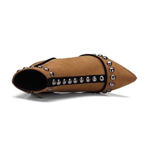 mit Nieten Nubukleder Spitzschuh mit Braun Damen und Leder Reißverschluss Agodor Absatz Punke hohem mit aus Winterschuhe YgEqvF