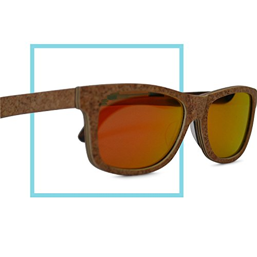 Antium Eyewear Cork & Recycled Wood Wayfarer Polarized Lens Sunglasses with Microfiber - Wood Recycled Sunglasses