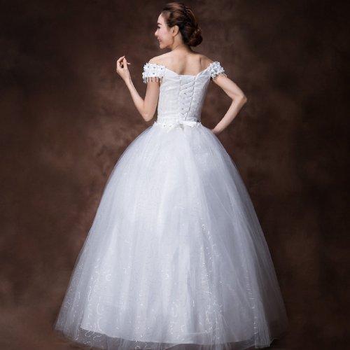 Elfenbein Perlenstickerei Ballkleid Mit Kleidungen Tuell Dearta Bodenlang Damen Brautkleider der Pailletten Schulter Ab Blumen OUwxqxnv