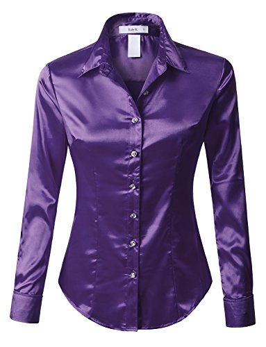 RK RUBY KARAT Womens Long Sleeve Satin Blouse with -