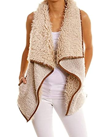 Tanming Women's Open Front Sherpa Lined Vest Cardigan at Amazon ...