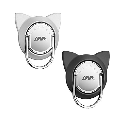 Cat Shaped Finger Ring for Magnetic Car Mount, Metal Phone Ring Holder for Magnet Air Vent Car Mount, 360 Degree Cat Ring Stand Compatible for iPhone Xs Max/XR/XS (2 Pack, Black/Silver)