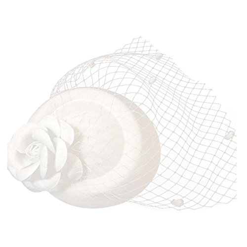 BAOBAO Fancy Women Girls Lace Feather Rose Flower Mini Top Hat Fascinator Hair Clip, #2-white, One Size