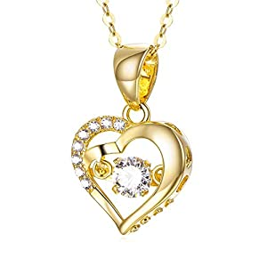 18K Gold Heart Necklace,Real Gold Double Love Heart Pendant Necklace for Women, 18″