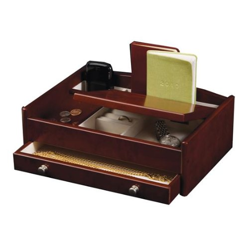 Davin Men's Dresser Top Valet in Dark Burlwood Walnut