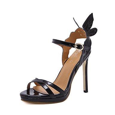 LvYuan Mujer-Tacón Stiletto-Confort Innovador-Sandalias-Boda Exterior Oficina y Trabajo Informal Deporte Fiesta y Noche Vestido-Semicuero-Negro Silver