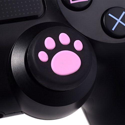 canamite® プレイステージョン PS2 PS3 PS4 XBOX One XBOX360 コントローラ対応用 アナログスティックカバー ねこにゃん アシストキャップセット 交換シリコンパッド ゴムラバー 2ペア (ホワイト)
