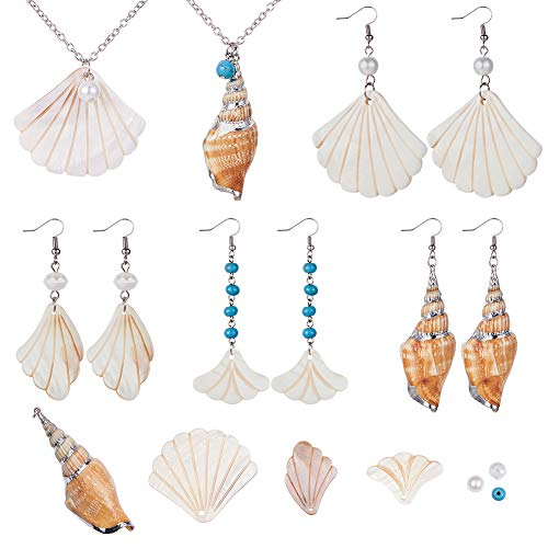 SUNNYCLUE 1 Box DIY 6 Set Seashell Spiral Shell Jewelry Making Kit Accent Ocean Seashell Couch Mermaid Sea Witch Necklace Earring Making Supplies, Ocean Beach Theme