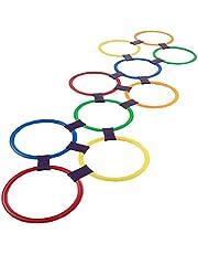 Nicedier Hopscotch ringspelspeelgoed 10 veelkleurige kunststof ringen en 9 connectoren voor binnen of buiten, creatieve speelset voor meisjes en jongens