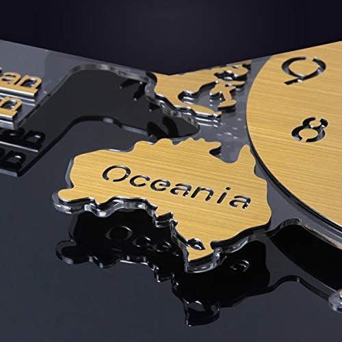 KUQIQI 時計ノルディックテーブル装飾的な地図時計掛け時計リビングルームクリエイティブシンプルでスタイリッシュな個性現代雰囲気時計 (Color : Gold)