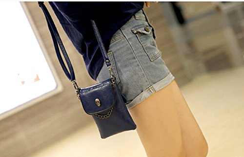 Nice Quality PU Leather Girls Cute Light Handy Cellphone Pouch Bag Women Crossbody Wallet Purse for iPhone 6Plus/5S/4S/ Samsung Galaxy Note/S Series Sony Xperia Series LG HTC Blackberry (Blue)