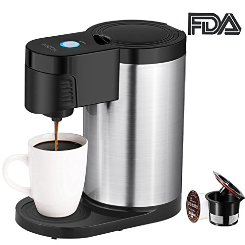 Aicok Single Serve Coffee Maker, Single Cup Coffee Maker for Most Single Cup Pods including K Cup Pods, One Cup Coffee Maker with Stainless Steel Body