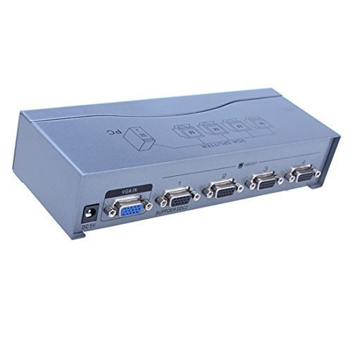 DTECH Powered 1 In 4 Out VGA Video Splitter Distribution Amplifier 500MHz Supports High Resolution up to 2048x1536 by DTech