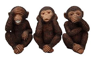 Wise Monkeys See Hear Speak No Evil Ape Chimpanzees Collectible Figurine Miniature Set