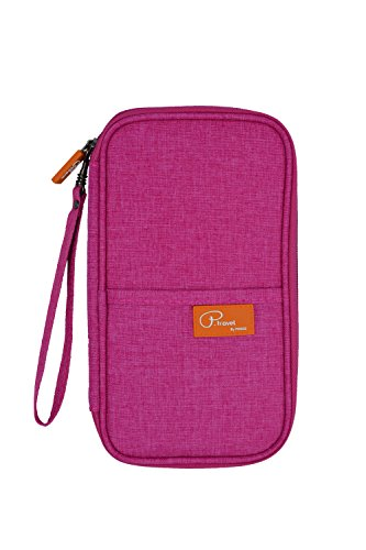 - P.travel Waterproof Travel Passport Women's Wallet and Credit Card Holder Ticket Document Bag Small Clutch with Zippered Pockets Carry Money, Tickets, Documents Includes Smartphone Pocket (Pink)