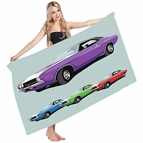 Mugod Beach Towel Bath Towels Manly American Muscle Car History Auto Sport Roadster Competition Generation Yoga/Golf/Swim/Hair/Hand Towel for Men Women Girl Kids Baby 64x32 Inch