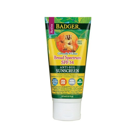 Friendly Sunscreen (Badger - Sunscreen All Natural Insect Repellent Cream Water Resistant Anti-Bug 34 SPF -2.9)