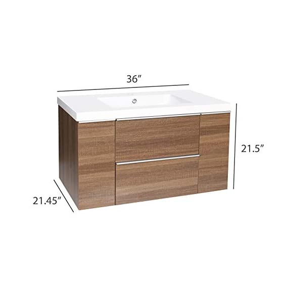 """Dyconn Faucet VCFL36M Nario Collection 36"""" Freefloating Bathroom Vanity with Stone Resin Countertop Basin, Brown - Vanity set: includes base cabinet (with two drawers / two doors) and countertop basin High-grade construction: made of high-density wood fibers to achieve outstanding durability and stability for prolonged use Pre-drilled 1 3/8 faucet hole and 1 7/10 drain hole for additional convenience - bathroom-vanities, bathroom-fixtures-hardware, bathroom - 41xErOU4MrL. SS570  -"""