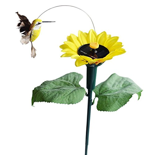 Cheap Advogue Solar and Battery Powered Flying Fluttering Hummingbird w/ Sunflower with Ground Spike
