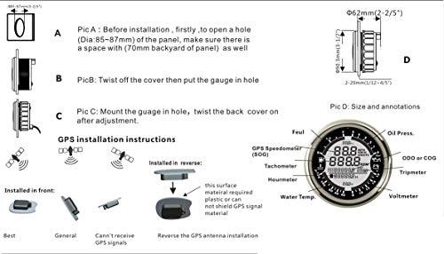 CT-CARID 85MM LCD Digital GPS Speedometer Gauge Meter 6-in-1 Multifunction  with Tachometer Hourmeter Water Temp Fuel Level Oil Pressure Voltmeter