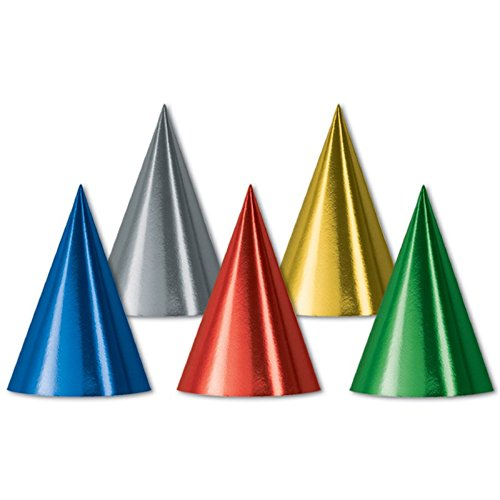 Club Pack of 144 Variety Color Festive Party Foil Cone Hats 6.75'' by Party Central