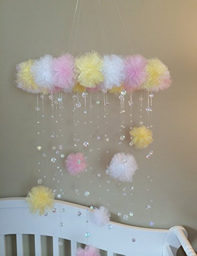 pink and yellow mobile, crystal baby mobile, princess baby mobile, princess decoration, tutu mobile, baby mobile, baby girl mobile, nursery decoration, baby girl, puff ball mobile, mobile with letter