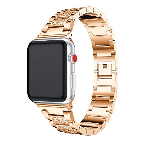 Wusad Luxury Stainless Crystal Watch Band Wrist Strap for Apple Watch Series 3 42MM Watch Stainless Steel Watch Band (Rose Gold)