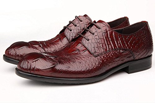 WZG crocodile cuir motif robe d'affaires chaussures hommes hommes chaussures pointues en dentelle chaussures plates 9.5 , red , 43