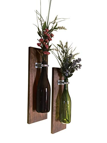 - Meraki Designs Wine Bottle Wall Vases - Set of 2: Rustic Home Decor, Bottles Not Included, Add Your Own Special Bottle & Flowers!