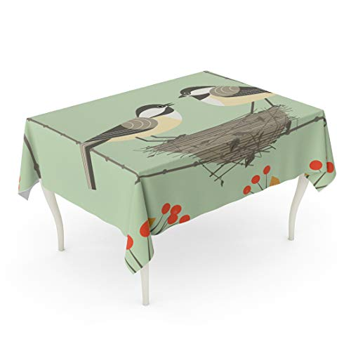 Chickadee Blend - Semtomn Decorative Tablecloth Waterproof Printed Polyester Oil-Proof Chickadee Bird Couple Cute Comic Cartoon Sitting in Straw Nest Minimalism Rectangle Table Cloth 60 x 84 Inch