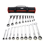 ABN Combo Open End Box Ratchet Wrench Set Metric and SAE Standard Wrench Set, Ratcheting Wrench Set 20-Piece