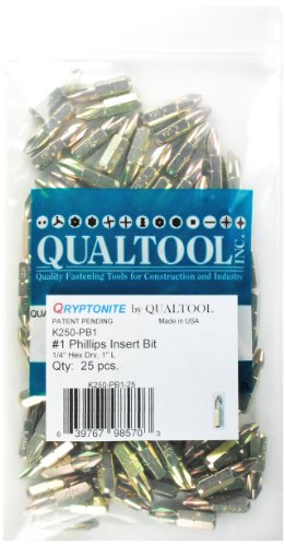 Qualtool Qryptonite K250-PB1-25 Number 1 Phillips Insert Bit, 25-Pack