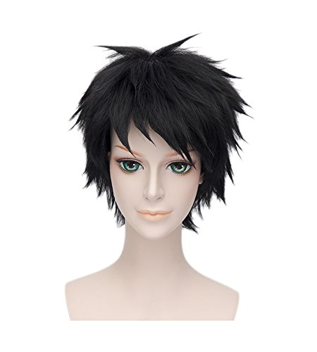 Wgior Anime Natural as Real Hair Styled Synthetic Halloween Cosplay Costume Party Daily Short Wigs (black2) ()