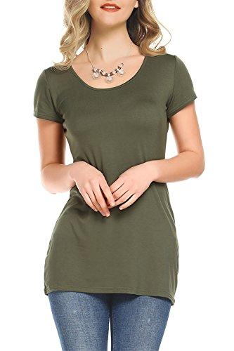 Amoretu Basic Cotton Tee Short Sleeve T Shirts For Women Summer (Army Green, (Girls Basic Scoop Neck Tee)